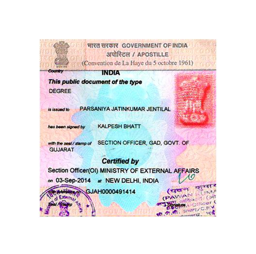 Degree certificate apostille service in Navsari